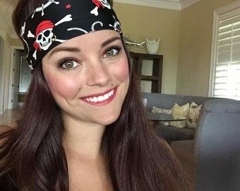 Jolly Roger ~ #398 Pirate Headband, Skull and Crossbones Headband, Hippie Runner, Gasparilla Headband, Best Headband, Fitness Headband, Yoga