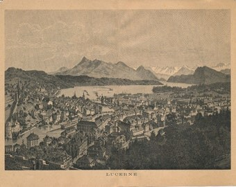 1892 Lucerne Switzerland Antique Print