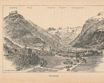 1892 Engelberg Switzerland Antique Print