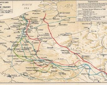 1930 World War One Western Front Antique Map