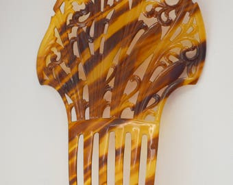 Carved Antique Celluloid Tortoiseshell Color Hair Comb