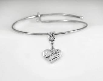 Special Sister Bracelet Sis Sister Jewelry Bracelet Sibling Special Sisters Family Mother Daughter European Style Bangle Bracelet