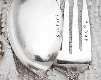 hand stamped serving fork and casserole spoon - Comfort and Joy