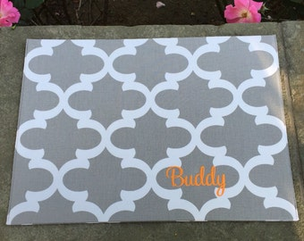 Pet Placemat || Personalized Grey Water Repellent Bowl Mat || Custom Puppy Gift || Stylish Quatrefoil Feeding Station by Three Spoiled Dogs