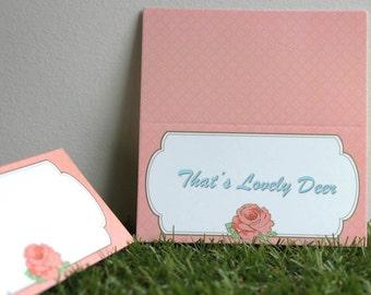 Vintage Floral Paper Place Cards 20pcs - Coral Pink
