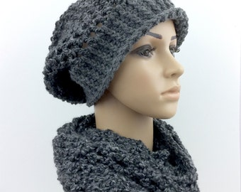 Charcoal Grey Infinity Scarf Hat Slouchy Beanie Large Slouchy Hat Scarf Set Circular Scarves Handmade Winter Gift under 50 Women Crochet