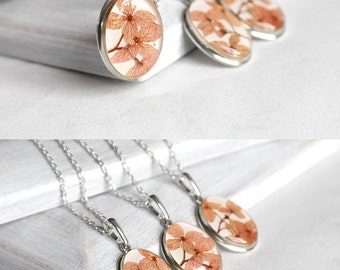 Sterling silver necklace set Silver wedding jewelry set for sister gift for wife Bridal necklace for bridesmaid Romantic gift Peach wedding