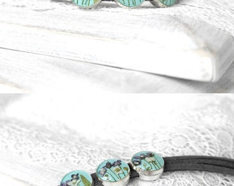 Bohemian jewelry Blue bracelet for mom Nature in jewelry Natural flower jewelry Woodland jewelry Turquoise bracelet for teen grey bracelet