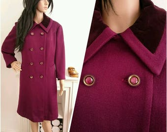 Vintage 60s Martinex Plum Military Wool Velvet Double Breasted Coat Mod L / UK 16 / EU 44