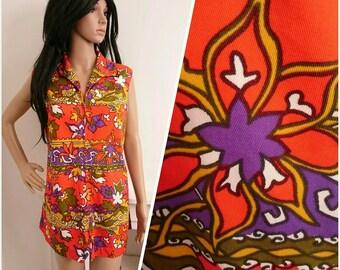 Vintage 70s Cotton Zip Front Floral Psych Boho Mini Tunic Top / UK 16 / EU 44 / US 12