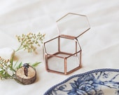 Wedding Band Box, Geometric Ring Box, Glass Ring Box, Newlywed Gift, Gifts for the Couple, Ring Bearer Box, Engagement Gift, Jewelry Box,