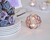 Geometric Wedding Decor, Glass Candle Holder, Wedding Table Number Holder, Bridesmaid Gift, Copper Wedding Favors, Sweetheart Table Decor