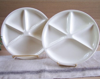 Pair of white ceramic Le Creuset fondue plates   | Compartment plates hors d'oeuvre plate | French vintage Kitchen 1970