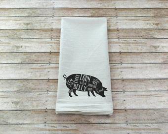 Perfect Pig Dish Towel   Butcher Tea Towel   Flower Sack Towel   Housewarming Gift    Kitchen