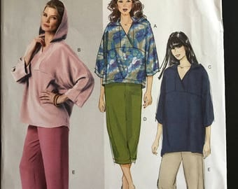 Butterick B5791 - Pullover Hooded Top or Tunic and Pull On Pants - Size L XL XXL