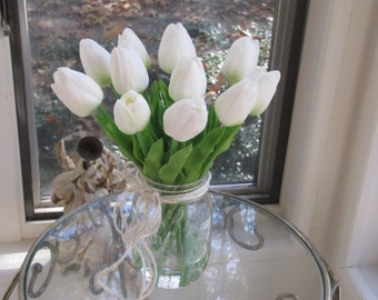 Real touch flower Arrangement -real touch white tulips  in Glass mason jar  with Faux Water