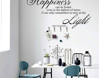 Harry Potter Wall Decal Happiness Can Be Found Even in the Darkest of Times Vinyl Wall Decals Albus Dumbledore Quote Boy Wall Decal#730Q