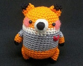 Amigurumi Little Orange Fox with Grey Shirt and red heart