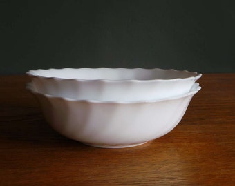 Arcopal french pyrex, pair of vintage white  fluted cereal or soup bowls.