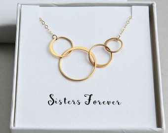 Gold Ring Necklace, Four Sisters Necklace, Four Circles Necklace, 4 Rings Necklace, Sister Necklace, Gold Ring Necklace, Sisters Forever