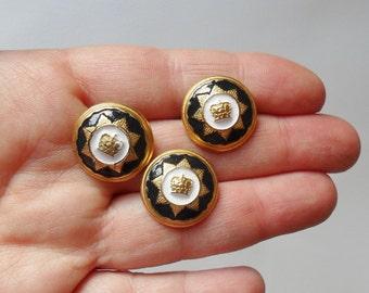 Three Vintage Smart Crown Shank Buttons Gold Navy White Military Style Metallic Blazer Style