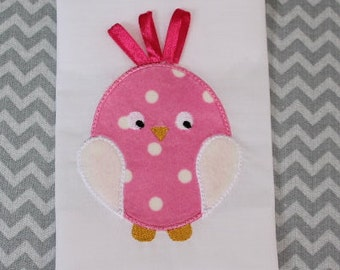 Baby Applique Machine Embroidery Design Cute Chick with Ribbons