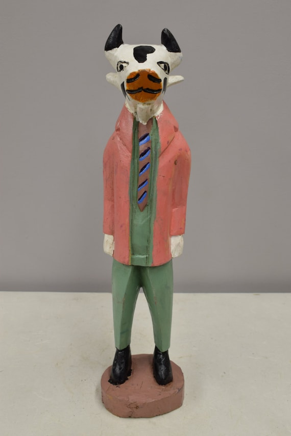 African Statue Folk Art Cow Suit Man Statue Handmade Cow Figure African Male Carved Wood Pink Suited Figure Statue