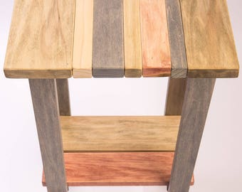 Accent End Table Handmade Natural Repurposed Reclaimed Wood
