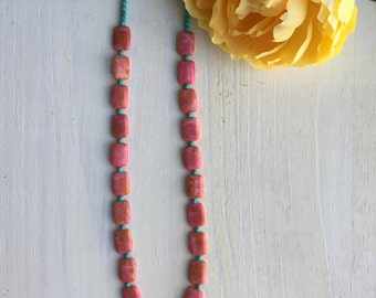 """CLEARANCE!!! Pink Jasper and """"Turquoise"""" Magnesite Necklace, Gemstone Necklace"""