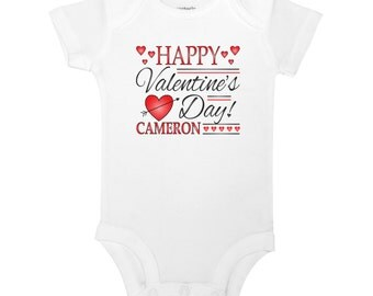 Personalize The Name - Happy Valentine's Day - Baby One Piece Bodysuit or Toddler / Children's T-shirt
