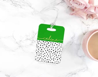 Monogram Luggage Tag, Diaper Bag Tag, Custom Luggage Tag, Personalized Luggage Tag, Cute Luggage Tag, Chic Bag Tag, Colorblock Green