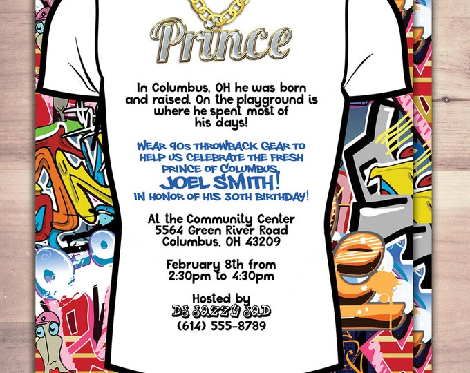 Fresh Prince, Birthday, Baby Shower, Hip Hop, Swagger, 90's, backstage pass, Vip invitation, invitation, Graffiti, birthday, DJ, 90's party
