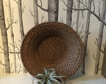 Large Vintage Coil Baket Woven Bowl Rustic Wall Hanging Decorative
