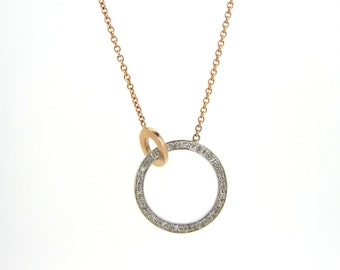 14k White and Rose Gold Double Circle and Diamond Pendant
