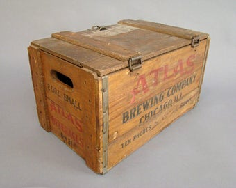 Atlas Beverages; Atlas Brewing Company; Wood Crate; Wooden Crate; Vintage Crate; Wood Box; Chicago; Industrial Decor; Industrial Storage;