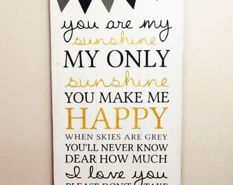 You Are My Sunshine Wood Sign | Navy, Grey and Yellow on White