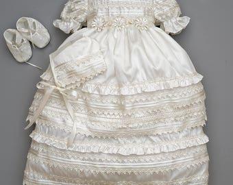Beautiful Baby Girl Christening Gown Burbvus G002 | Baptism Heirloom Set, Matching Shoes & Bonnet | Handmade Baptism Dress Classical Design