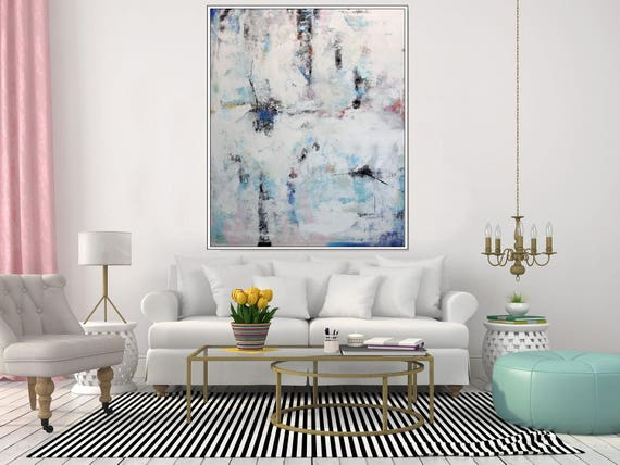 EXTRA LARGE Art Modern Abstract Painting Original Art Contemporary Wall Art Canvas Oversize Wall Art, Extra Large White Artwork, Christovart
