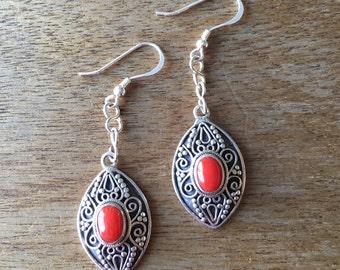 Coral Earrings, Genuine Coral Earrings, Coral Filigree Sterling Silver Earrings, Oval Shaped Genuine Red Coral 925 Sterling Silver Earrings