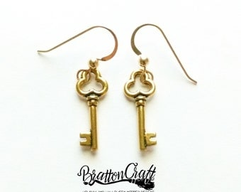 Gold Key Earrings - Key Earrings - Gold Key Charm Earrings - Key Jewelry - Stocking Stuffer