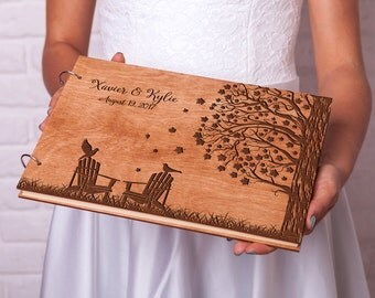 Wedding guest book Rustic guestbook Wood guest book Custom engraved Adirondack Chairs Retirement guest book ideas Rustic guest book Weddings