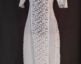Antique Edwardian Lace Day Dress, 1900, 1910 White Lace, Cotton