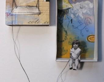 """Art box:petit diorama original à accrocher.""""Fanette"""".Petite fille en équilibre.Balançoire.""""Les funambules""""."""