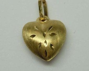14Kt Gold Satin Finish Diamond Cut Puffy Heart Pendant Charm