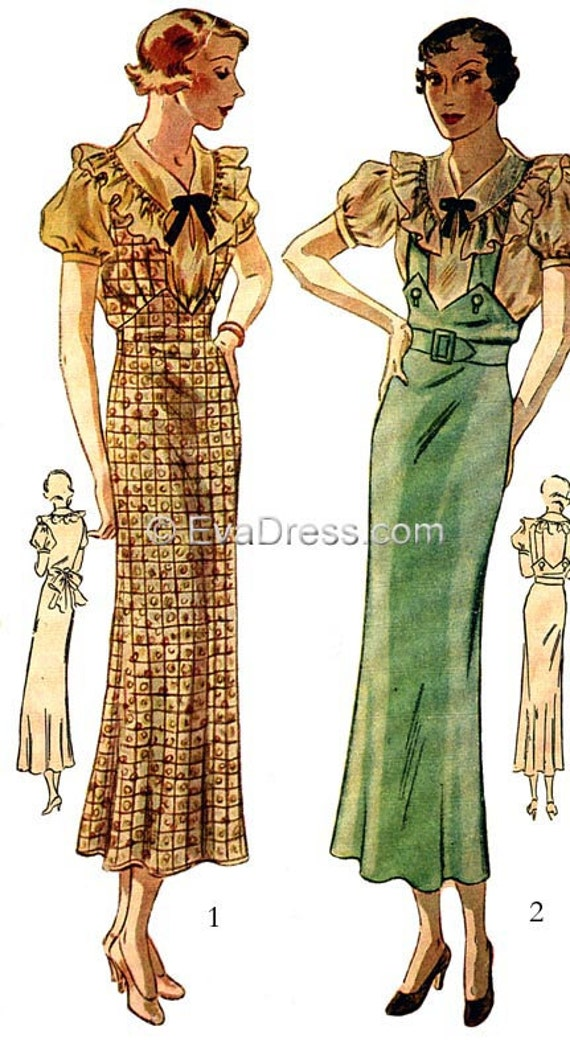 1930s Sewing Patterns- Dresses, Pants, Tops 1935 Blouse & Jumper EvaDress Pattern! $17.00 AT vintagedancer.com
