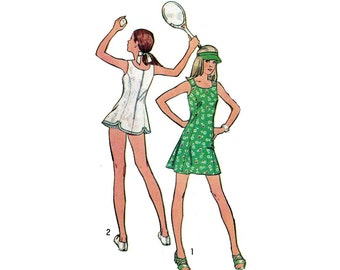 Girl's Dress in Mini or Tennis Lengths, Panties and Visor Sewing Pattern Young Junior / Teen Size 9-10 Vintage 1970's Simplicity 5572