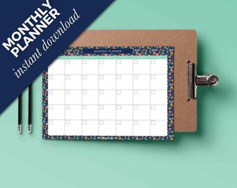 Monthly printable Planner 2017 - Calendar Monthly - Planner Instant download - Calendar monthly printable - Blank pdf - Student planner