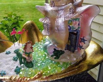 Sea Shell Cottage Miniature Beach Ocean Terrarium House Desktop Beach DIY  Mini Dish Zen Garden Supplies