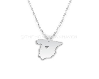 Spain Necklace - I heart Madrid, Country map necklace, Spain Charm, I love Spain, Spanish pride, Spaniard