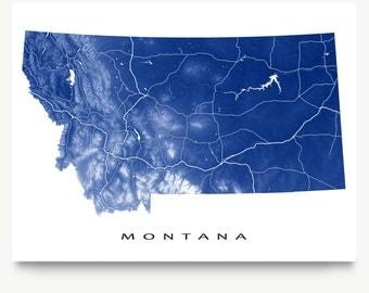 Montana Map Print, Montana State Art, MT, USA